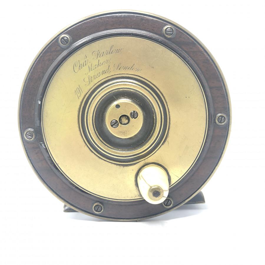 Cha Farlow Angelrolle, Maker, London. Holz/Messing, Horngriff, 120 mm Durchmesser, 60 mm breit - sehr alt