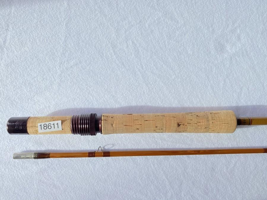 Gespliesste/Glasfaser Fliegenrute, Pezon et Michel, Ritz, 2tlg., ungleich geteilt, 2,10m #5, Gebrauchsspuren, Spitze gekürzt, Futteral, Kunststoffrohr