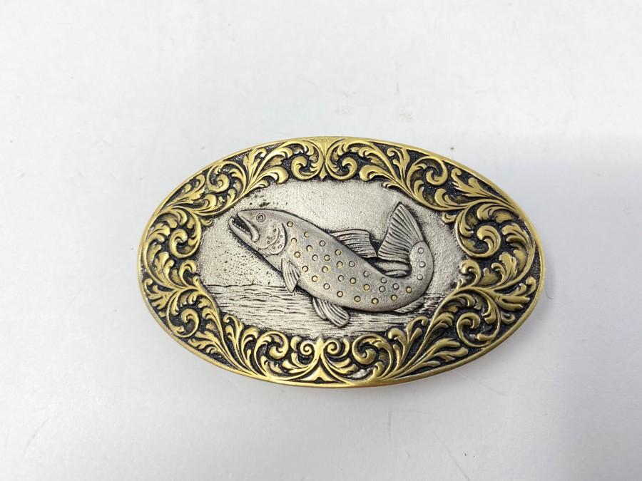 Gürtelschliesse, 925 Silber, Forelle, Randgravur vergoldet, 4 x 7 cm
