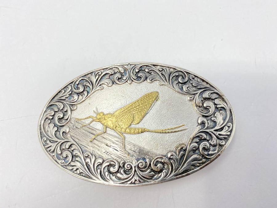 Gürtelschliesse, 925 Silber, Motiv Eintagsfliege vergoldet, 4 x 7 cm