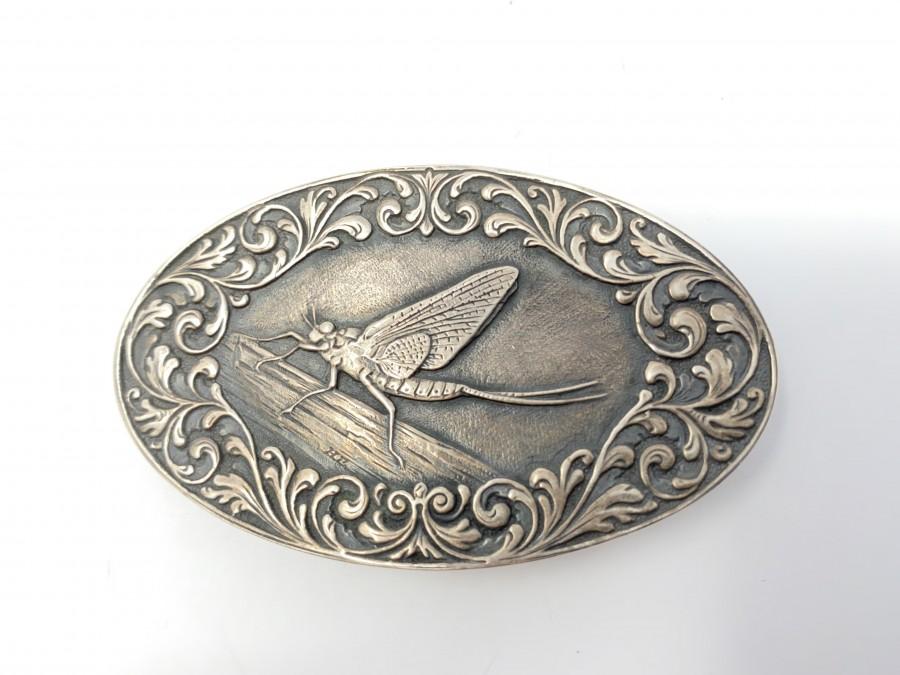 Gürtelschliesse, 925 Silber, Motiv Eintagsfliege, 4 x 7 cm