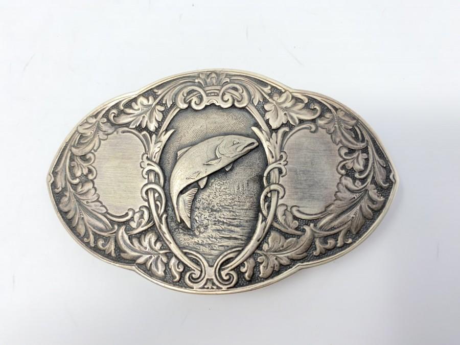 Gürtelschliesse, 925 Silber, Motiv Lachs, 2 Felder für Gravur, 5 x 8 cm