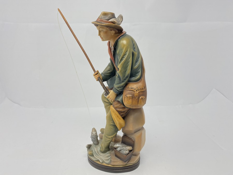 Angler aus Holz, 30 cm hoch, handbemalt, sehr schön