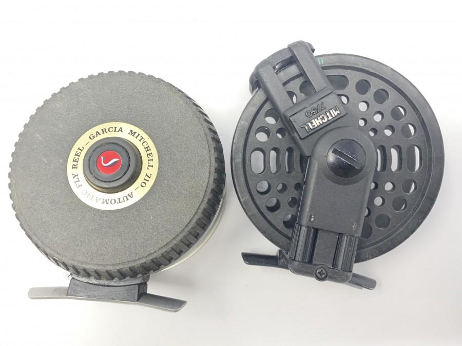 2 Fliegenrollen von Mitchell: Automatic Fly Reel von Garcia Mitchell 710, ein Muss für jeden Fliegenfischer, Mitchell 7750, Gebrauchsspuren