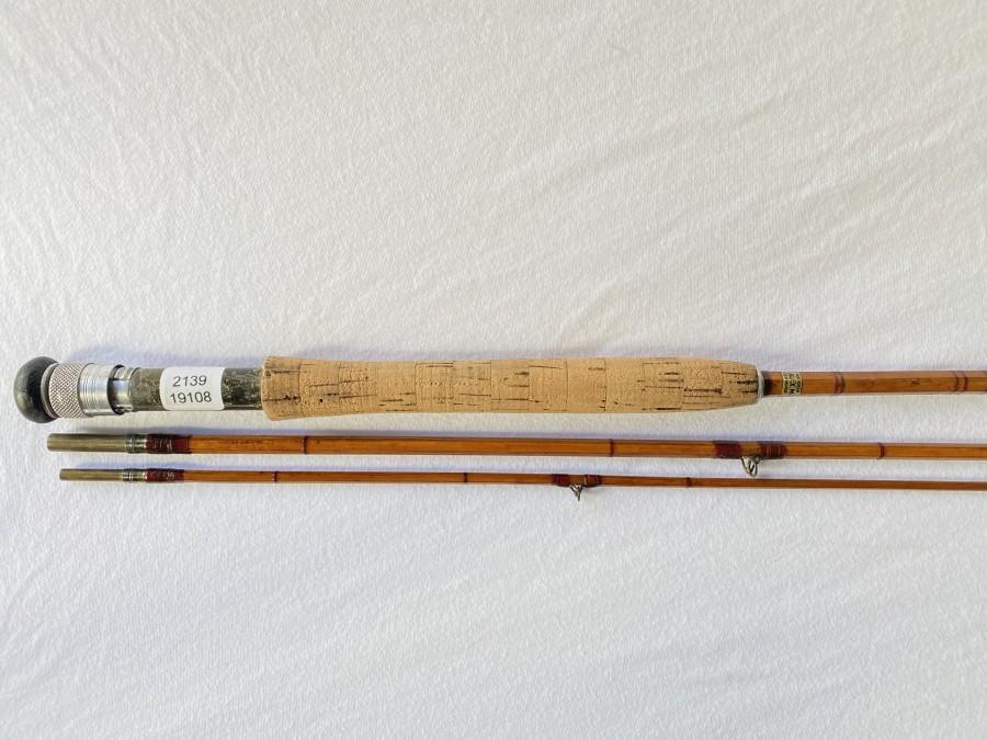 Gespliesste Fliegenrute, Alex Martin, 3tlg., 2,95m, Spitze gekürzt,, Leitring gebrochen, Futteral, altersbedingte Gebrauchsspuren