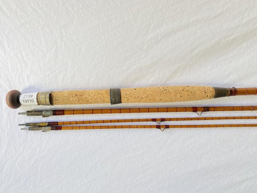 Vintage Steelcentre Fliegenrute, gespliesst, 3tlg., 3,20m, #7, Loc Fast Hülsen, Reservespitze kürzer, 1 Schlangenring fehlt, Futteral, reaparaturbedürftig
