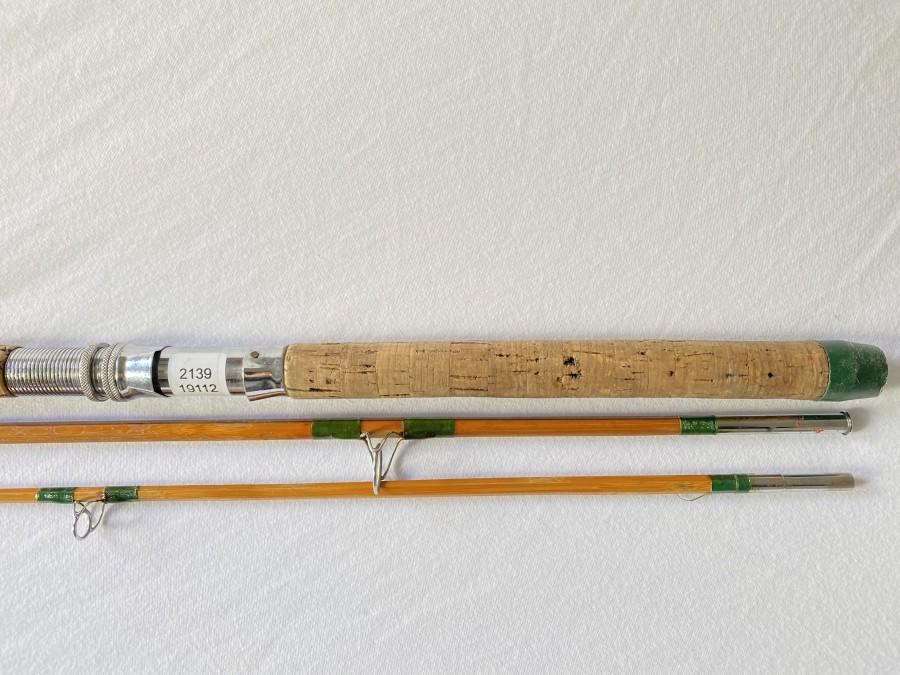 Vintage Spinnrute, gespliesst, ungemarkt, 3tlg., 3m, Futteral, reparaturbedürftig