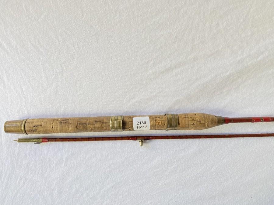 Vintage Spinnrute, gespliesst, Milward, England, 2tlg., 2m, Futteral, reaparaturbedürftig