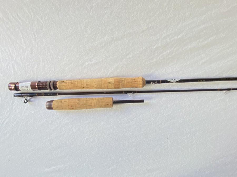 Fliegenrute, Fenwick HMG Graphite GFF 908, 2tlg., 2,75m, #8. Futteral und Alurohr, Gebrauchsspuren