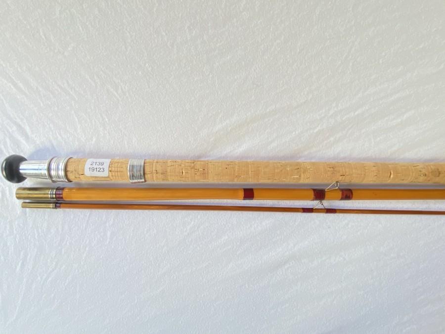 Vintage Matchrute, Milwards Floatcraft, 3tlg., 14 Fuß, Handteil und Mittelteil Bambus, Spitze gespliesst, guter Zustand