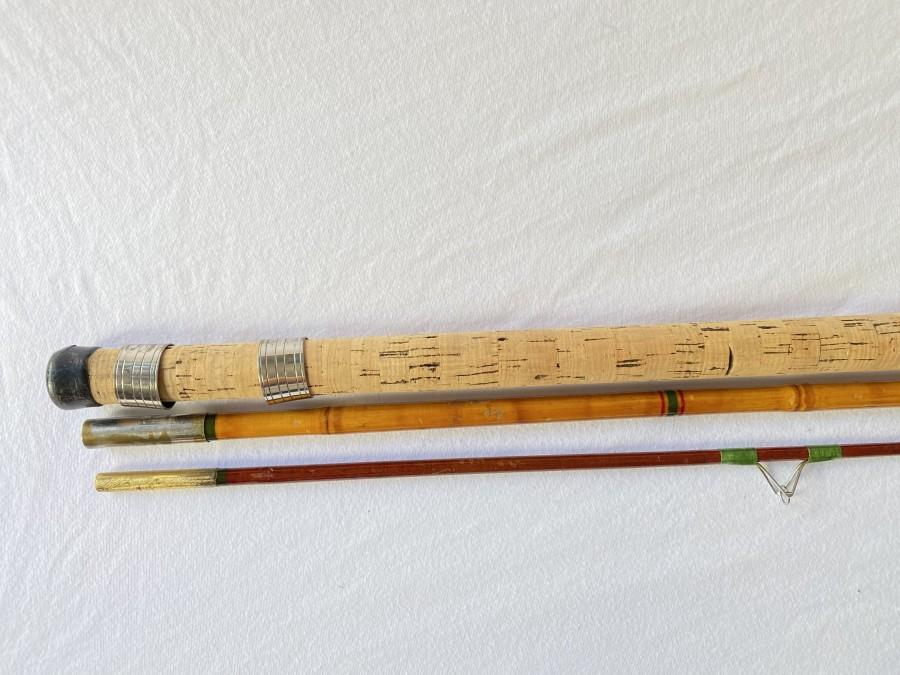 Vintage Matchrute, Handteil und Mittelteil, Bambus,  Spitze Glasfaser,3tlg. 3,50m, Gebrauchsspuren,