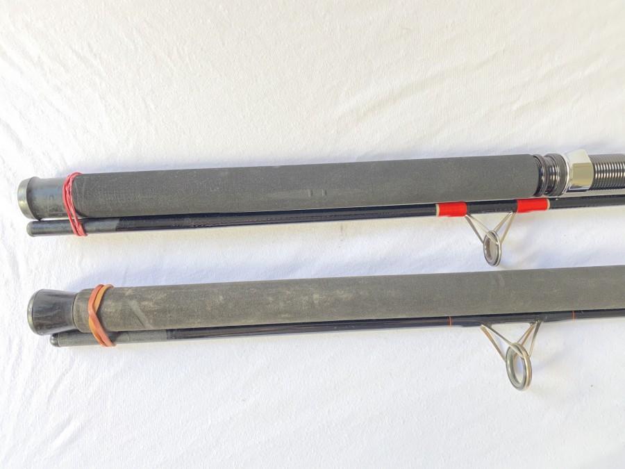 2 Spinnruten: Silstar MX 3501 - 240, Carbone Composite, 2tlg., 2,40m, Wurfgewicht 20-80 gr.,  Stucki Thun, EM - 1904 NFT, 2tlg.,  2,70m, Wurfgewicht 21 - 57 g, guter Zustand der Ruten