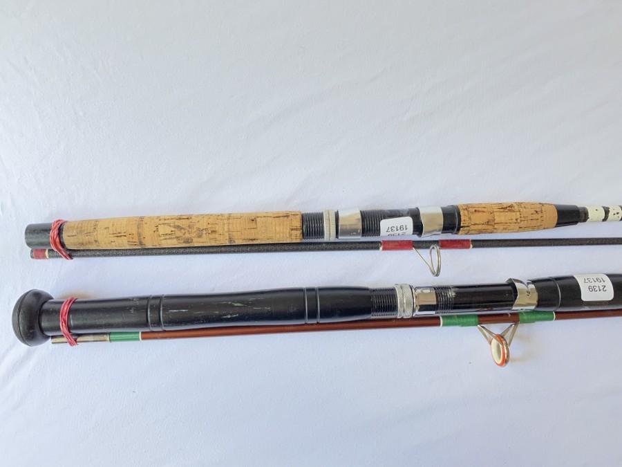 2 Spinnruten: DAM Allrounder Art.Nr. 2310, 2tlg., 2,25m, WG 10 - 30gr, DAM Holiday, Art. Nr. 2048, 2tlg., 1,80m, WG 100 - 200 gr, Gebrauchsspuren