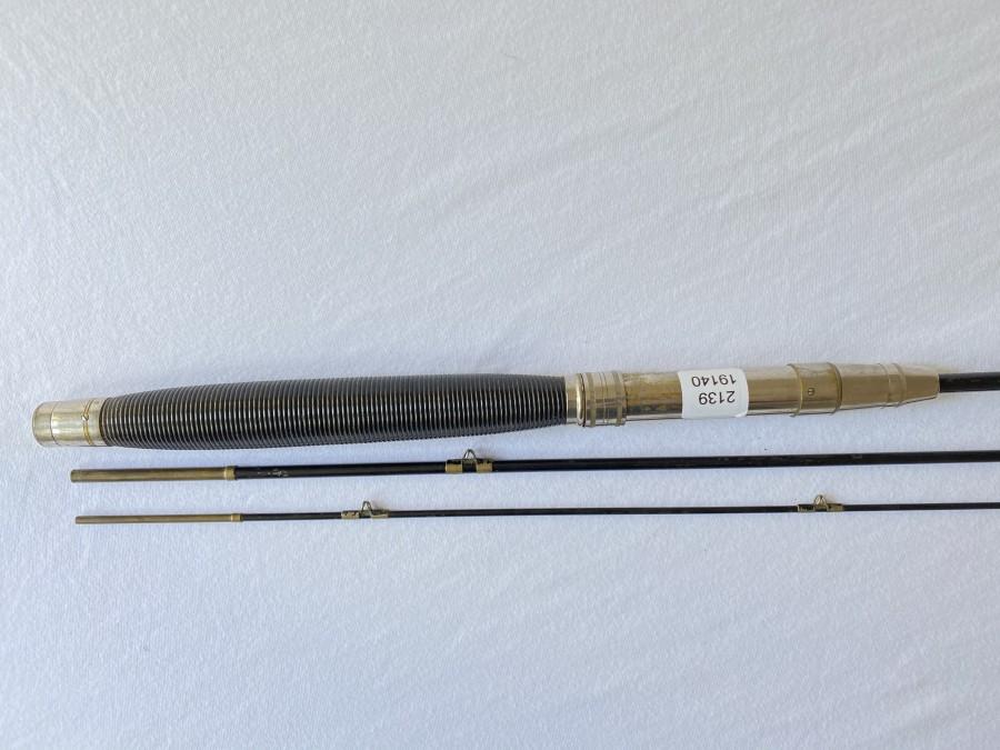 Stahl Spinnrute, 3tlg., 2,80m, Gebrauchsspuren, sammelnswert