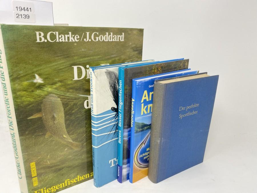 5 Bücher: Die Forelle und die Fliege, B.Clarke/J.Goddard, 1982; Besser Fliegenfischen, Werner  Berens, 2011; Angelknoten, Geoffrey Budworth, 2005; Naß und Trocken, Hans Anders, 1967; Der perfekte Sportfischer, Hermann Aldinger, 1969