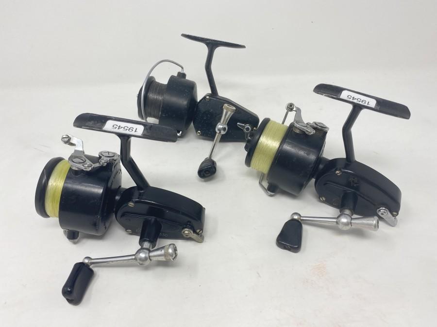 3 Stationärrollen Balzer: Mitchell 330, Mitchell 330, Olympic, Modell 81, technisch in Ordnung, Gebrauchsspuren