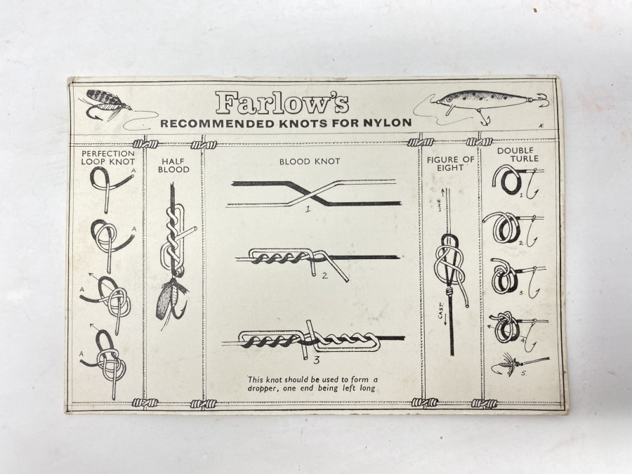 Farlows Recommended Knots for Nylon, Karte, ca. 1930