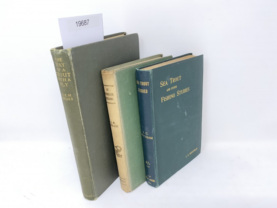 3 Bücher: The Way of a Trout with a Fly, G.E.M. Skues, 1949; By Twinkling Streams, G.W. Borlase, 1950; Sea Trout and other Fishing Studies, J.C. Mottram, 2. Auflage