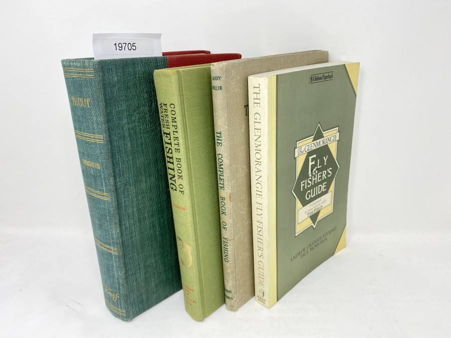 4 Bücher: Trout, Ray Bergman, 1952; Complete Book of Fresh Water Fishing, P.Allen Parsons, 1963; The complete Book of Fishing, Larry Koller; The Glenmorangie Fly Fisher's Guide, Andrew Graham-Stewart/Paul McNichol