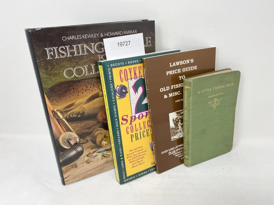 4 Bücher: Fishing Tackle for Collectors, Charles Kewley/Howard Farrar, 1987; Coykendall's 2nd Sporting Collectibles Price Guide, Rolf Coykendall, Jr. 1992; Lawson's Price Guide to old Fishing Rods & Misc. Tackle, George S. Lawson, Jr., 1997;  A Little Fishing Book, Cecil, Lord Harmsworth, 1942