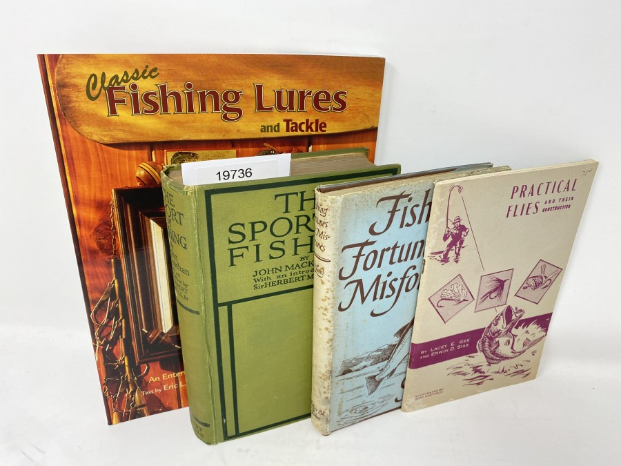 4 Bücher: Classic Fishing Lures and Tackle, Eric L. Sorenson, 2000; The Sport of Fishing, John Mackeachan; Fishing Fortunes and Misfortunes, G.D. Luard; Practical Flies and their Construction, Lacey E. Gee/Erwin D. Sias