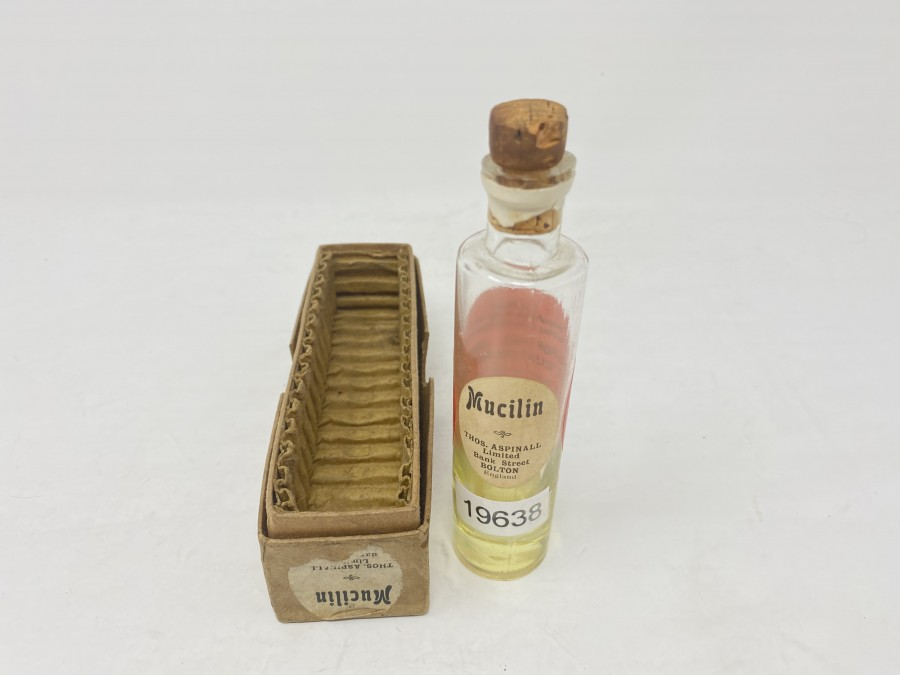 Mucilin, Thos. Aspinall in Vintage Flasche, in Originalbox