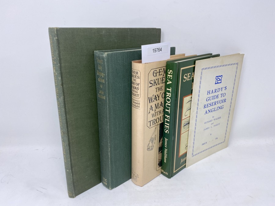 5 Bücher:  An Album of the Chalk Streams, E.A. Barton, 1946; Trout Fly Recogniton, John Goddard, 1976;  The Way of a Man with a Trout, G.E.M. Skues, Donald Overfield, 1977; Sea Trout Flies, James Waltham, 1988;  Hardys Guide to Reservoir Angling, Richard Walker/L. Hardy