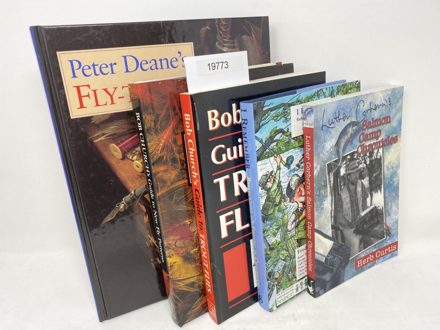 5 Bücher: Fly Tying, Peter Deane, 1993; Bob Church's Guide to Trout Flies, Bob Church, 1997;  Bob Church's Guide to New Fly Pattern, Bob Church, 1993; I Remember Reflections on Fishing in Childhood, Frederick Forsyth, 1995; Salmon Camp Chronicles, Herb Curtis, 1999