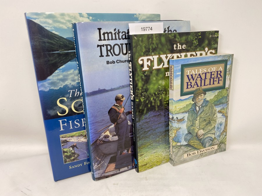 4 Bücher: The Scottish Fishing Book, Sandy Forgan/Gly Satterley, 2001; Imitations of the Trout's World, Bob Church/Peter Gathercole, 1985;  The Flytier's manual, Mike Dawes, 1986; Tales of a Water Bailiff, Bob Davison, 1995
