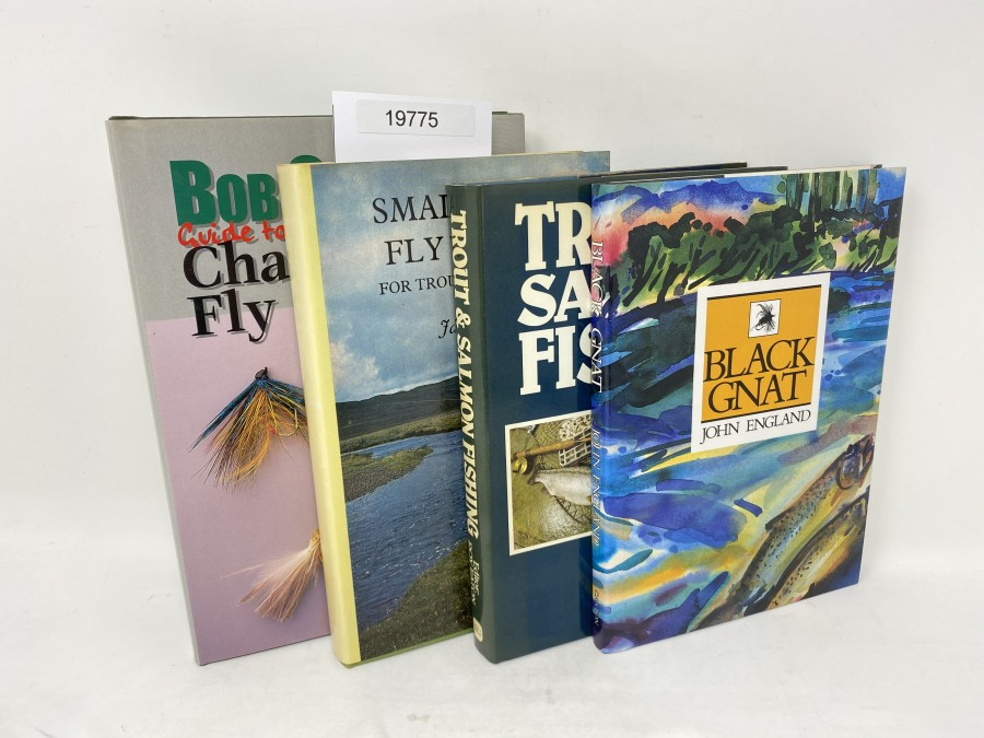 4 Bücher: Bob churches Guide to the Champions´Fly Pattern, Bob Church 1998; Trout & Salmon Fishing, Roy Eaton, 1981; Small-River Fly Fishing for Trout and Grayling, 1972;  Black Gnat, John England, 1990
