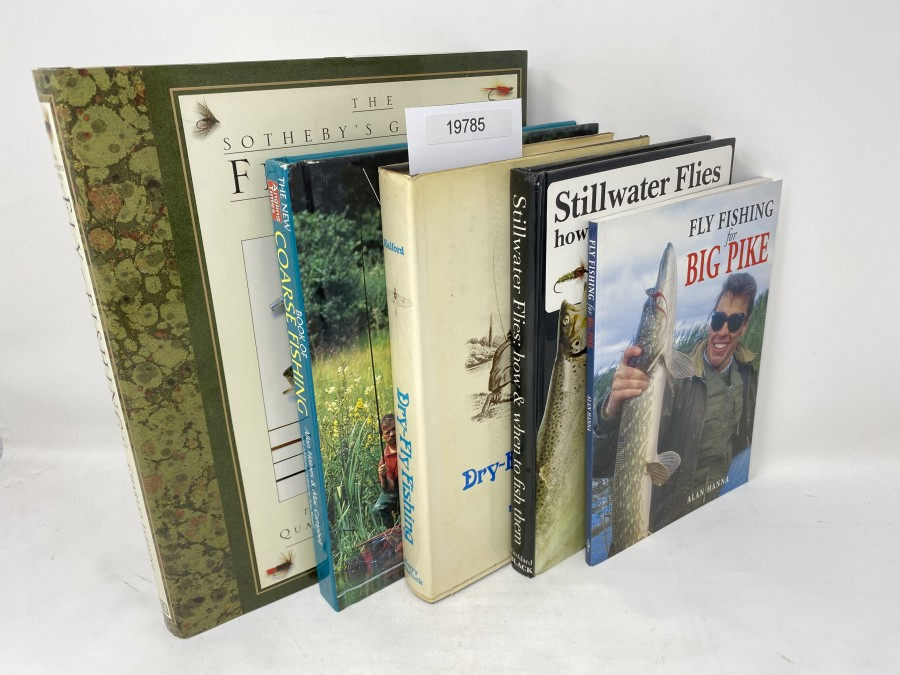 5  Bücher: The Sotheby's Guide to Fly-Fishing for Trout, Charles Jardine;  AnglingTimes Book of Coarse Fishing, Allan Haines/Mac Campbell, 1994; Dry-Fly Fishing, F.M. Halford, 1973; Stillwater Flies how & when to fish them, John Goddard, 1989; Fly Fishing for Big Pike, Alan Hanna, 1998