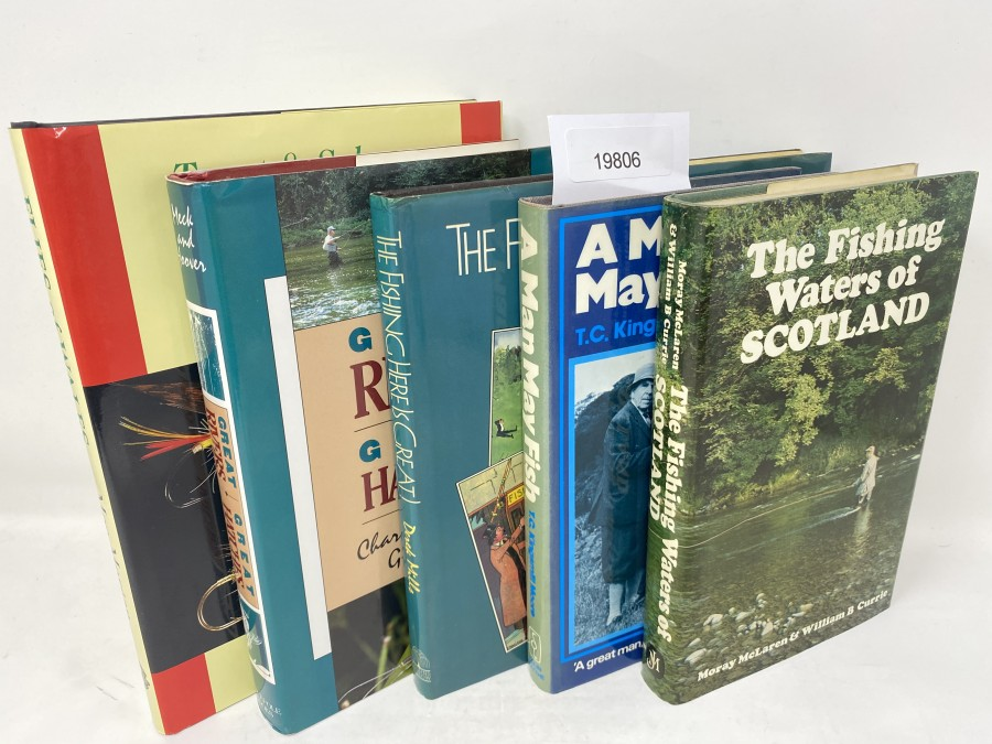 5 Bücher: The Fishing Here is Great, Derek Mills, 1985; A Man May Fish, T.C. Kingsmill Moore, 1983; The Fishing Waters of Scotland, Moray McLaren/William B. Currie, 1978; Great Rivers, Great Hatches, Charles Meck/Greg Hoover, 1982; Trout & Salmon Flies of Wales, Mock's Morgan, 1996