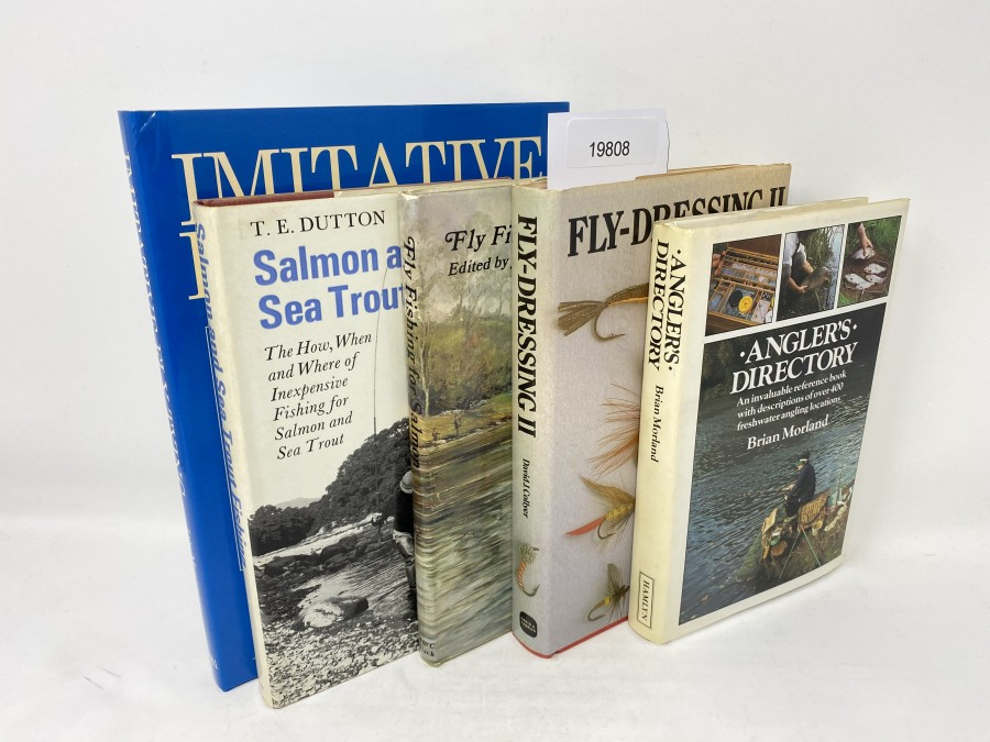 5 Bücher: Imitative Fly Tying, Techniques and Variations, Ian Moputter, 2002;  Salmon and Sea Trout Fishing, T.E. Dutton, 1972; Fly Fishing for Salmon, Jack Chance, 1973;  Fly-Dressing II, David J. Collyer, 1981; Anglers Directory, Brian Morland, 1985