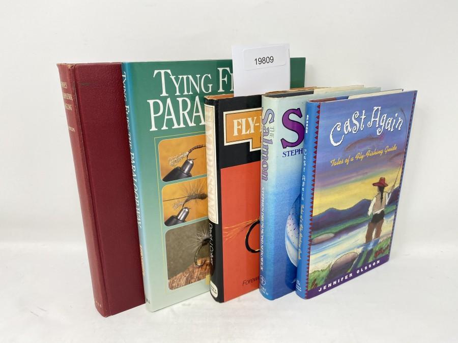 5 Bücher: Encyclopedia of Angling, A. Norman Marston, 1963; Tying Flies the Paraloop Way, Ian Moutter, 2001;  Fly-Dressing, David J. Collyer, 1975; The Salmon Handbook, Stephen Drummond Sedgwick, 1982; Cast Again, Jennifer  Olson,  1996