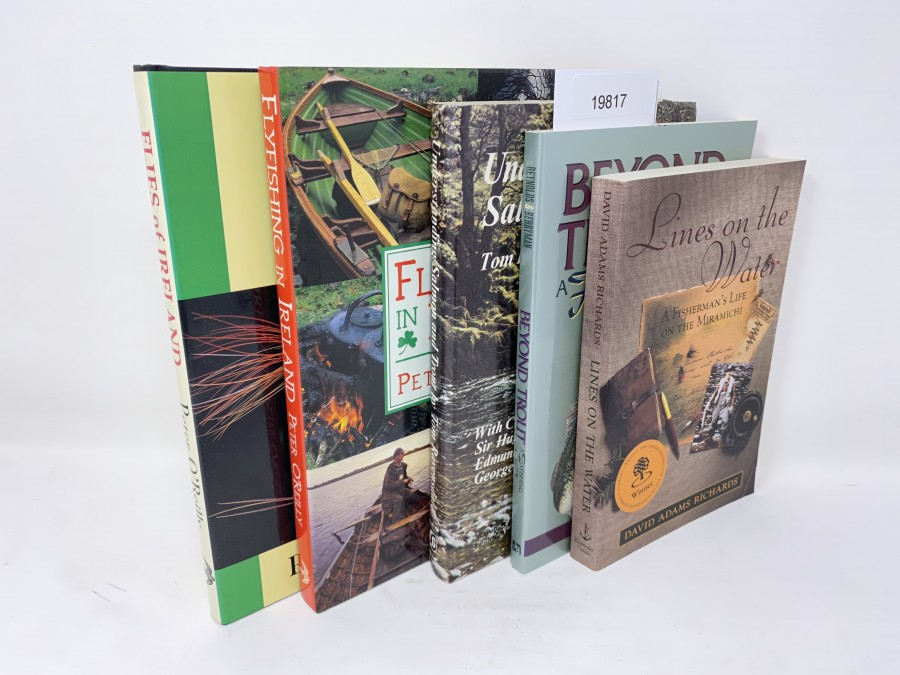 5 Bücher: Trout & Salmon Flies of Ireland, Peter O`Reilly, 1995; Flyfishing in Ireland, Peter O´Reilly, 2000; Understanding Salmon and Trout, Tom Ravensdale, 1972; Beyond Trout A Flyfishing Guide, Barry Reynolds/John Berryman, 1995; Lines on the Water, David Adams Richards, 1998
