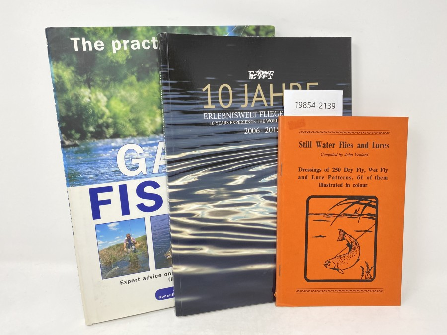 3 Bücher: The Practical Guide to Game Fishing, Peter Gathercole; EWF 10 Jahre Erlebniswelt Fliegenfischen 2006 - 2015; Still Water Flies and Lures, E. Veniard