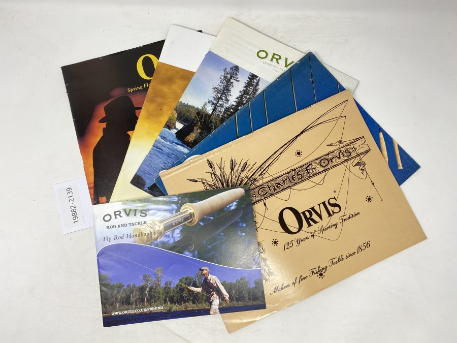 Kataloge: Orvis 125 Years, 1981, 1980, 2003, 2010 und 1990