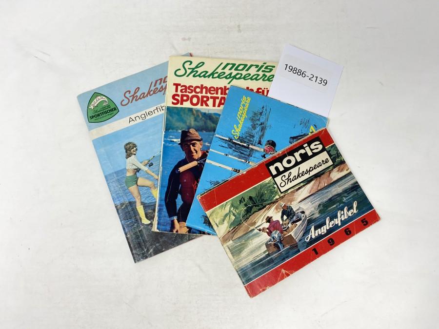 Kataloge: Noris Shakespeare Anglerfibel 1965, 1966, 1967, Taschenbuch für Sportangler, 1971, Angelfibel 1972