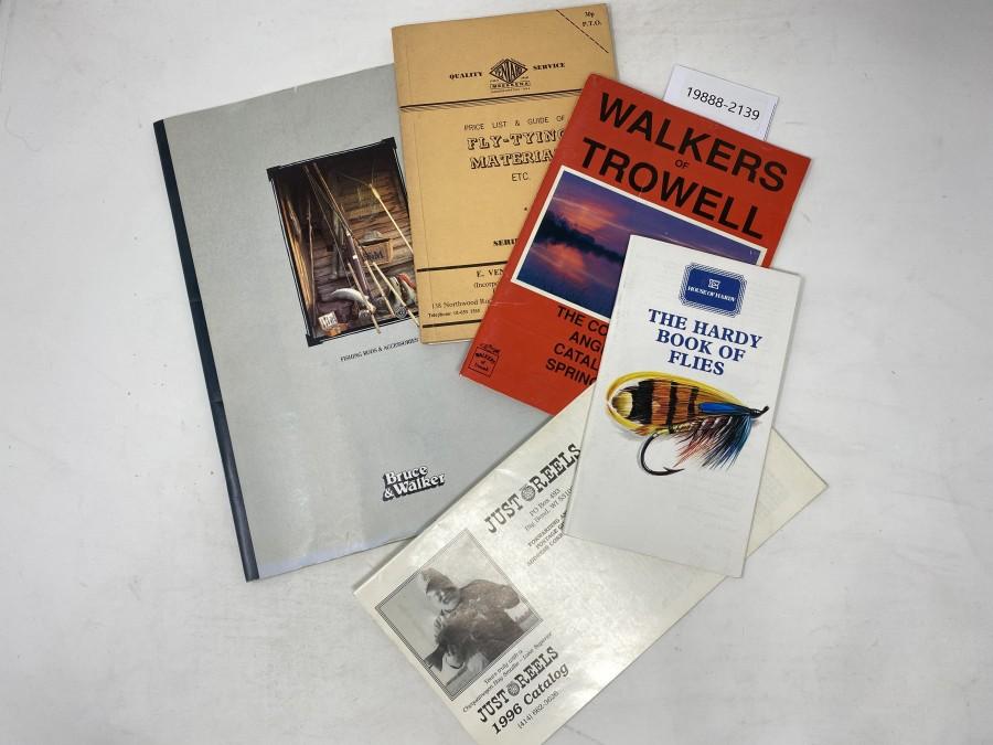 Kataloge: The Hardy Book of Flies, 1990, Walkers of Trowell, 1991, Veniard, 1972, Bruce & Walker, Just Reels, 1996