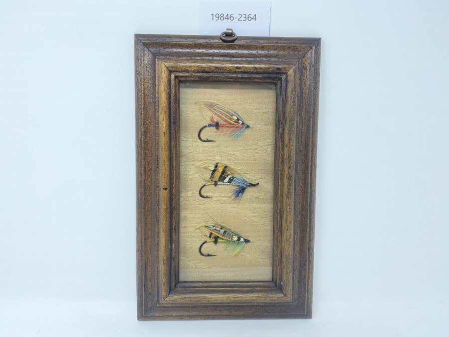 Bild mit 3 klassischen Lachsfliegen, gebunden von Joachim Niklas, 180x280mm