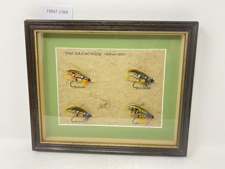 Bild The Salmonfley, Kelson 1895, 4 klassische Lachsfliegen, gebunden von Joachim Niklas, 340x280mm