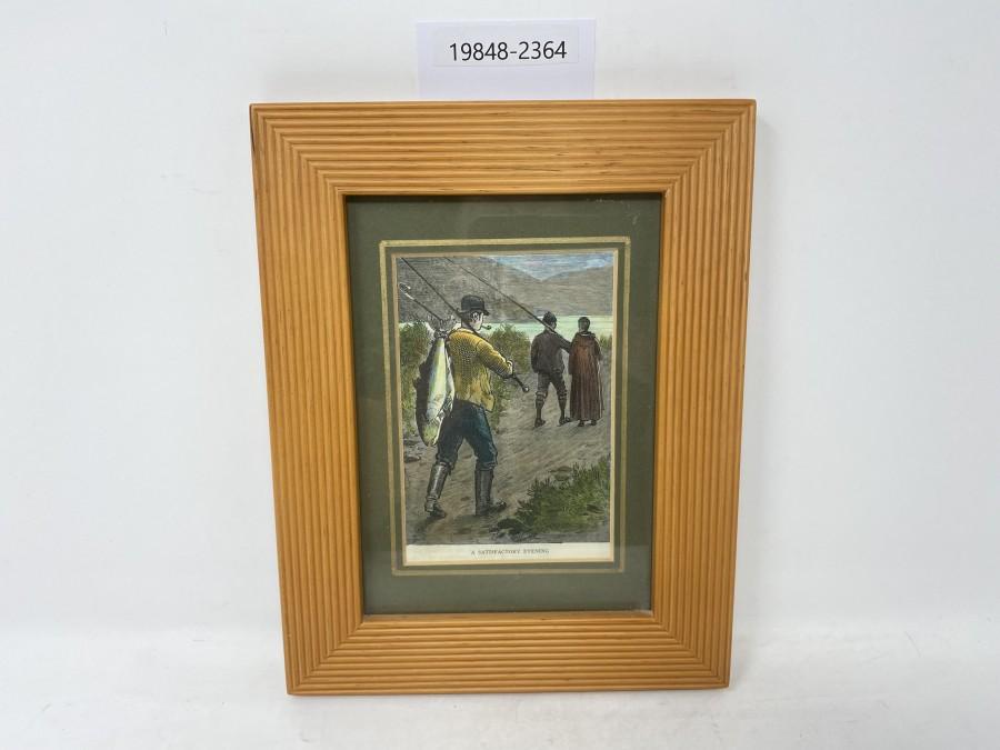 Bild A Satisfactory Evening, Der Lachsangler, Holzstich, London 1860, schöner Holzrahmen, 180x230mm
