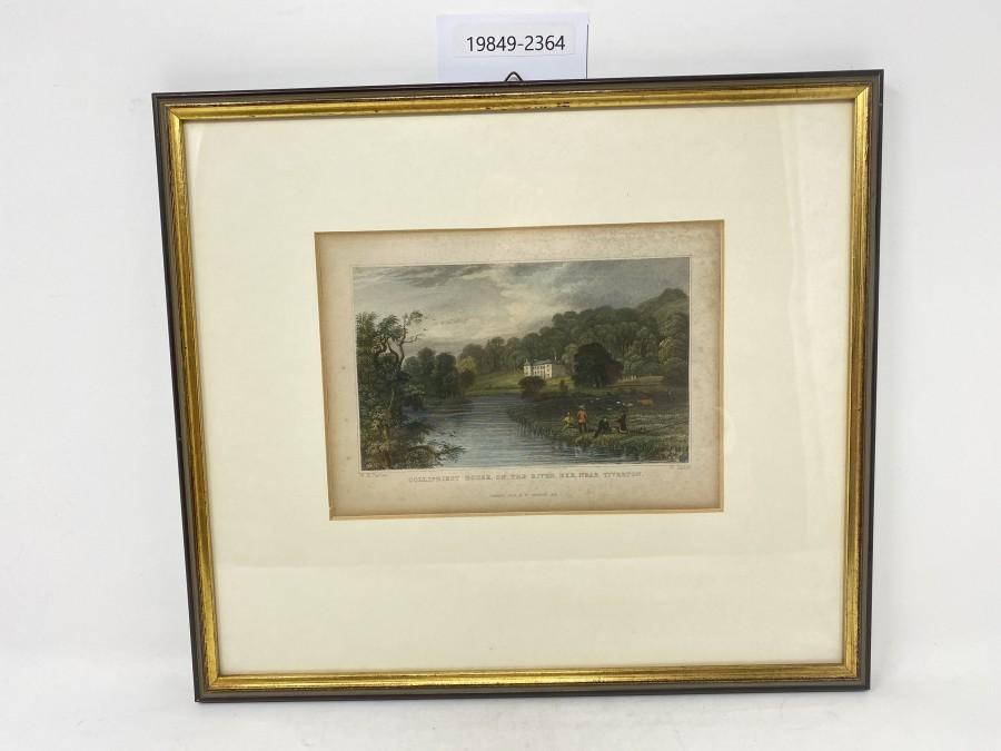 Bild Collipriest House, on the River Exe,Near Tiverton, W. H. Bartlett, W. Taylor, Fisher, Son,  C., Lon 1830, gekauft bei Farlow, London, sehr schöner Rahmen, 320x280mm