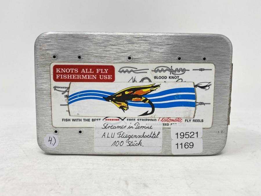 Alu Fliegenbox, Perrine, mit 100 Stück Streamern
