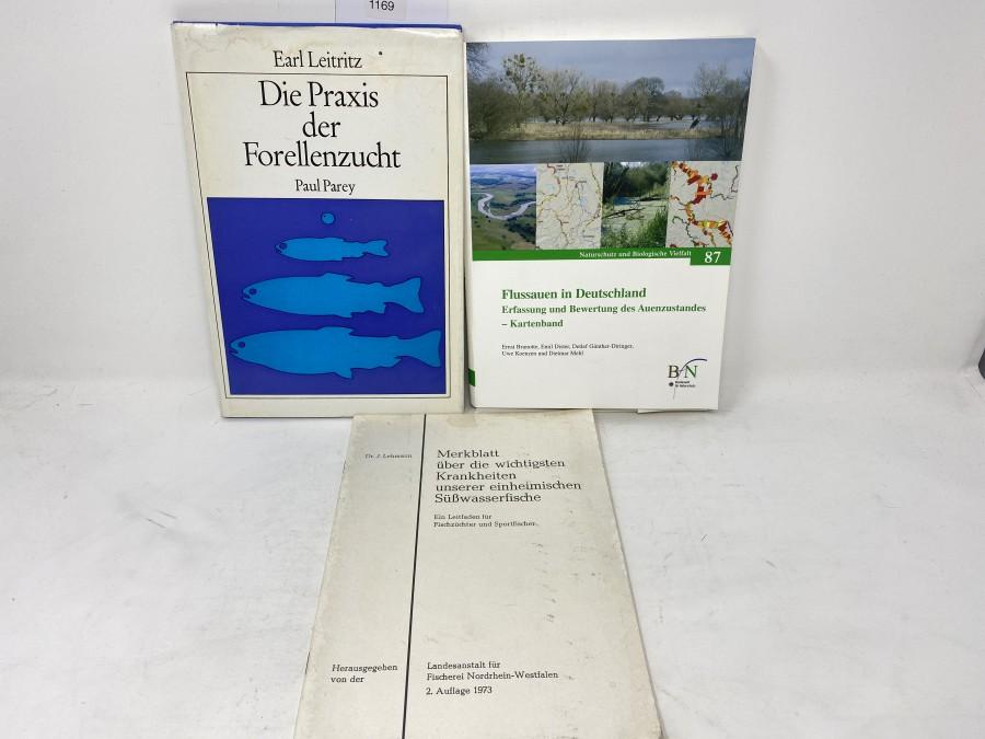 Buch: Die Praxis der Forellenzucht, Earl Leitritz; Merkblatt über die wichtigsten Krankheiten  unserer einheimischen Süßwasserfische; Kartenband: Flussauen in Deutschland, Erfassung und Bewertung des Auenzustandes, Bundesamt für Naturschutz