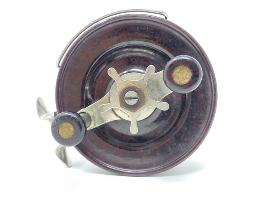 Angelrolle, Alvey, Made in Australia, Bakelit/Metall, 130mm Rollendurchmesser, Gebrauchsspuren