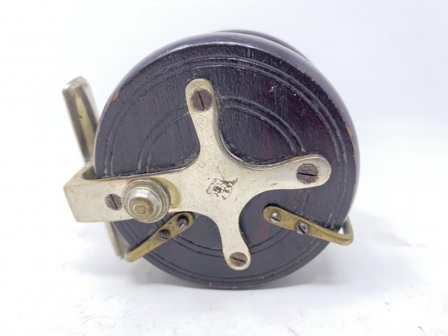 Holzrolle Horngriff, Rückenkreuz und Rollenhalter Messing vernickelt, 70mm Durchmesser x 45mm Breite. Gebrauchsspuren