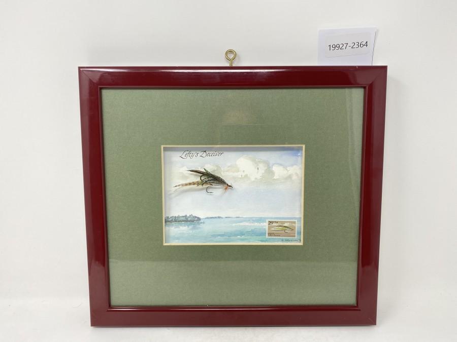 Bilderrahmen mit Aquarell, Fliege Lefty's Deceiver, mit Briefmarke, 35 x 32 cm