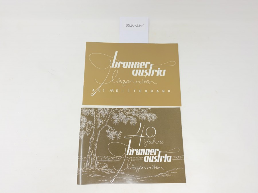 2 Broschüren: 40 Jahre brunner austria Fliegenruten und brunner austria Fliegenruten aus Meisterhand