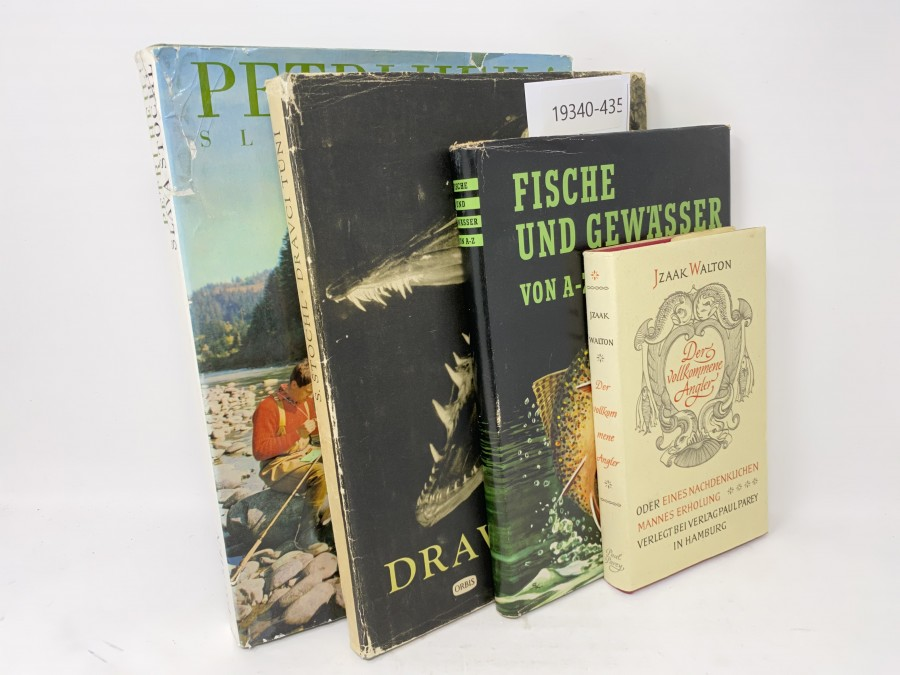 4 Bücher: Der vollkommene Angler, Izaak Walton; Fische und Gewässer von A - Z, 1961, Dravci Tuni; Salza Stochl; Petri Heil, Slava Stochl